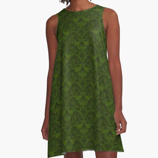 Stegosaurus Lace - Green A-Line Dress