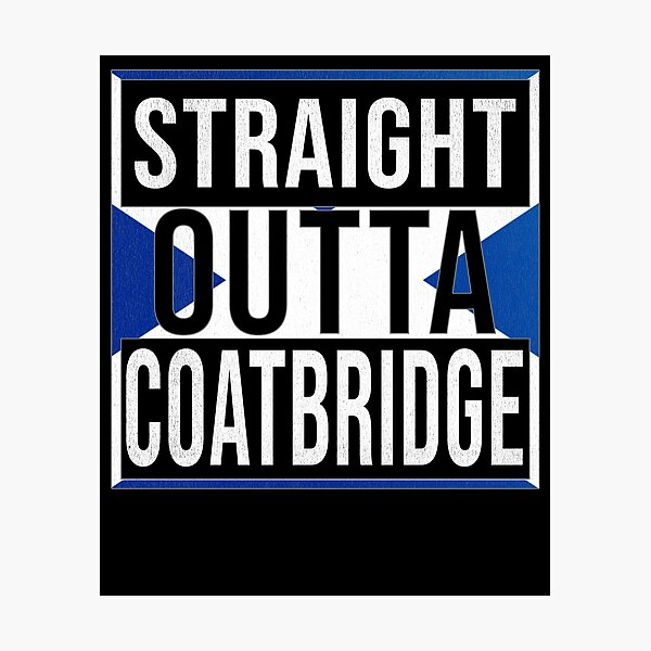 Straight Outta Coatbridge Retro Style - Gift For An Coatbridge From Scotland , Design Has The Scottish Flag Embedded Photographic Print