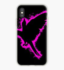 Silhouette parrot pink and black silhouette iPhone Case