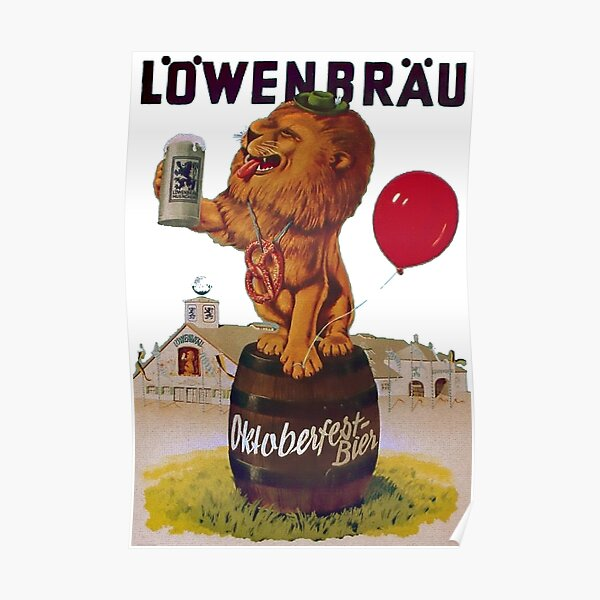 German Oktoberfest party with Lowenbrau Lion Poster