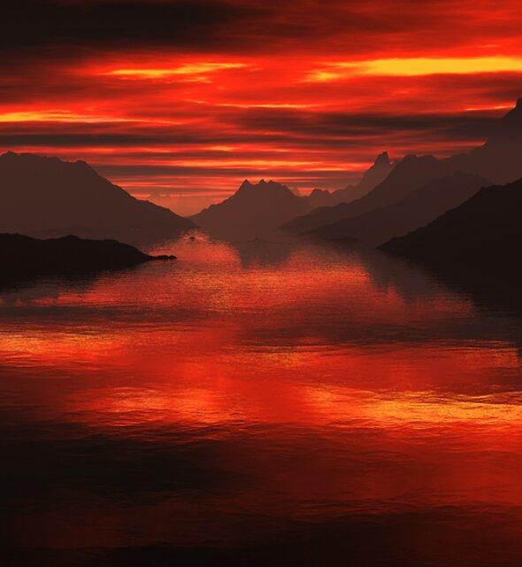 Mountain Lake Sunset by Hugh Fathers