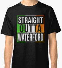 Straight Outta Waterford Retro Style - Gift For An Waterford From Ireland , Design Has The Irish Flag Embedded Classic T-Shirt