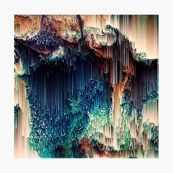 Cave of Wonders - Abstract Glitchy Pixel Art Photographic Print