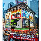 Times Square II  (vertical with type) by Ray Warren