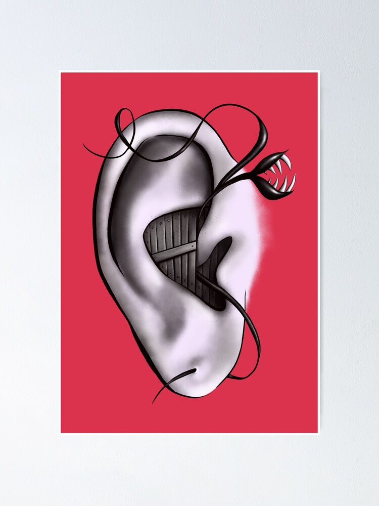 Alternate view of Ear Monster Weird Art Poster