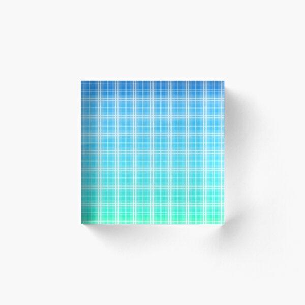 Faded and Shaded Aqua Blue and White Tartan Plaid Check Acrylic Block