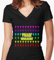 Phage invaders Women's Fitted V-Neck T-Shirt