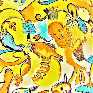 Oil on canvas ... pixeled. Fish people. yellow by UNWEARABLE