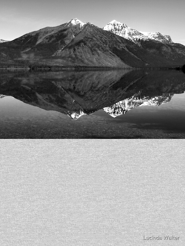 Mirror Reflection in Lake McDonald ~ Black & White by GVAZDesigns