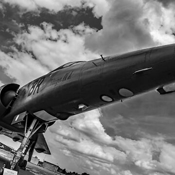 Mirage jet aircraft low monochrome by capney