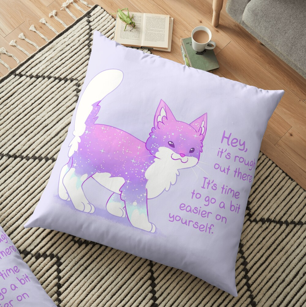 """""""It's Rough Out There"""" Sparkle Kitten Floor Pillow"""
