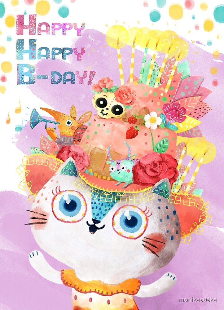 Happy Birthday Card With Cute Cat In Birthday Cake Hat By