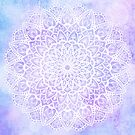 White Mandala on Pastel Purple and Blue Textured Background by Kelly Dietrich