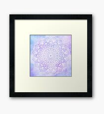 White Mandala on Pastel Purple and Blue Textured Background Framed Print
