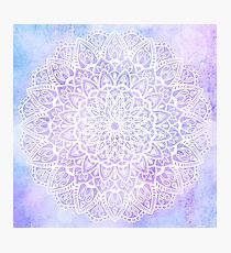 White Mandala on Pastel Purple and Blue Textured Background Photographic Print