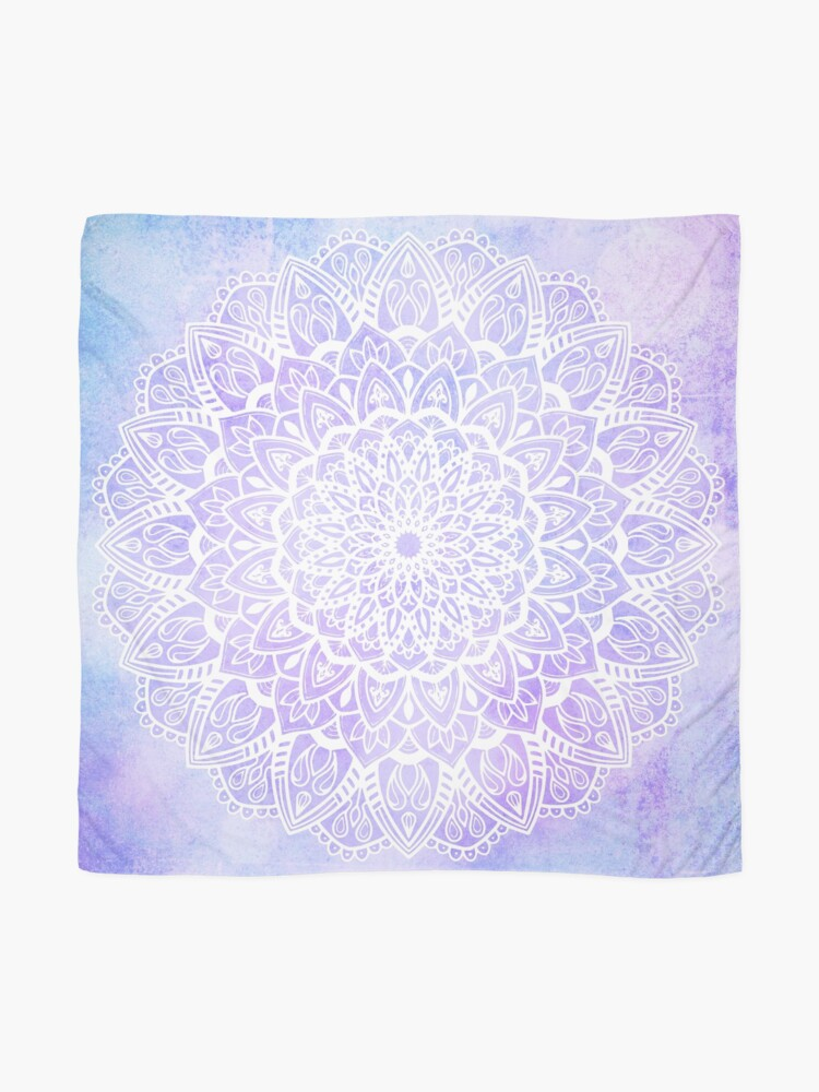 Alternate view of White Mandala on Pastel Purple and Blue Textured Background Scarf
