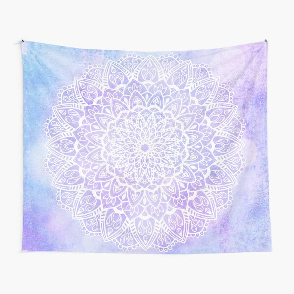 White Mandala on Pastel Purple and Blue Textured Background Tapestry