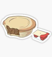 Hand Drawn New Zealand Pie and Sauce Sticker
