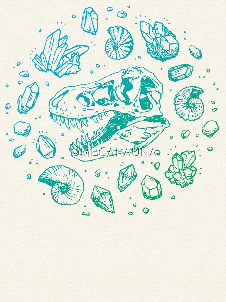 Geo-rex Vortex | Turquoise Ombré | Dinosaur Fossil Art by OMEGAFAUNA