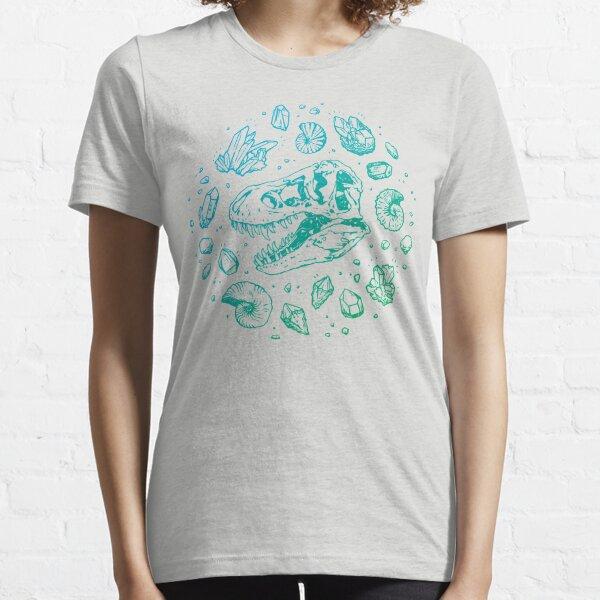 Geo-rex Vortex   Turquoise Ombré   Dinosaur Fossil Art Essential T-Shirt