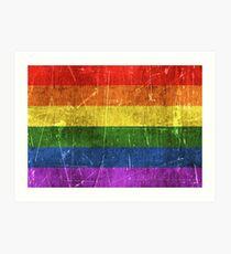 Lámina artística Arco iris envejecido y rayado vintage Bandera del orgullo gay