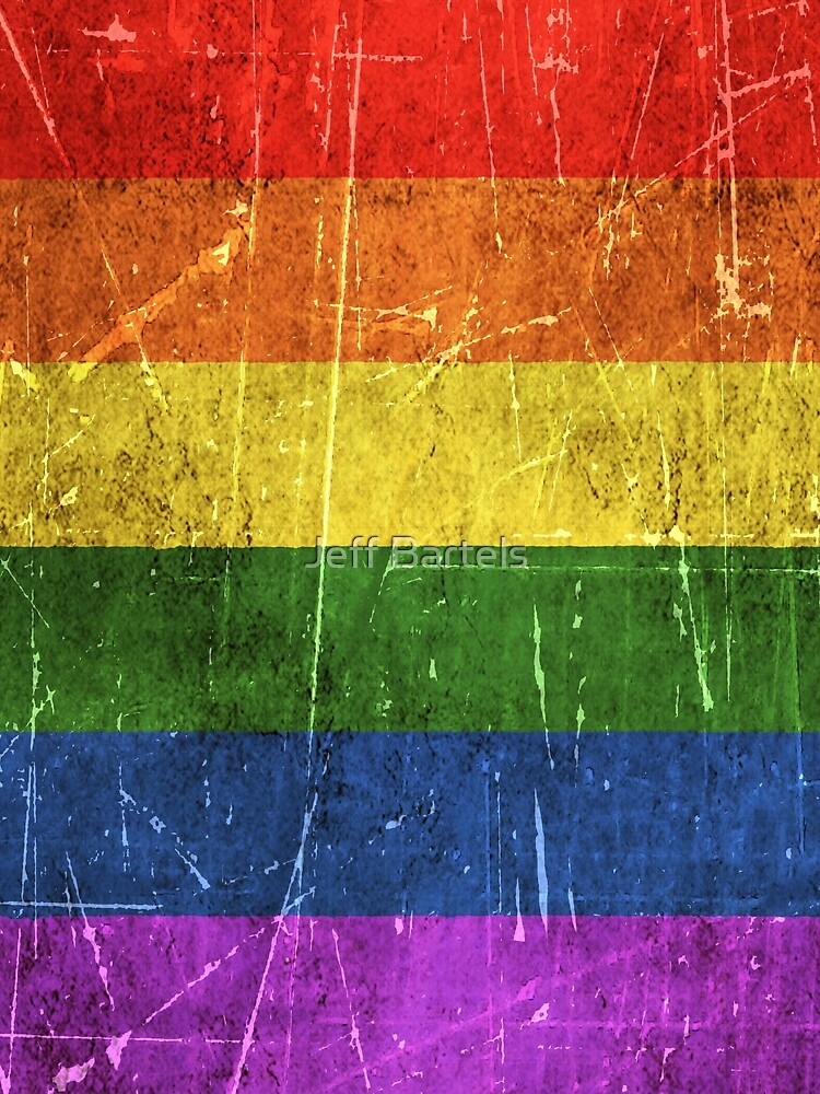 Vintage Aged and Scratched Rainbow Gay Pride Flag by JeffBartels