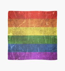 Vintage Aged and Scratched Rainbow Gay Pride Flag Scarf