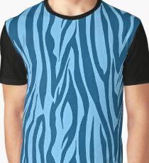 Blaue Zebrastreifen Grafik T-Shirt