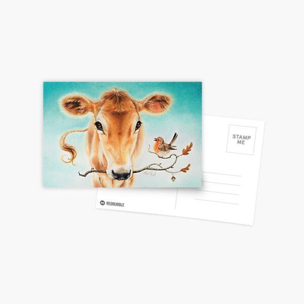 Calf and bird by Maria Tiqwah Postcard