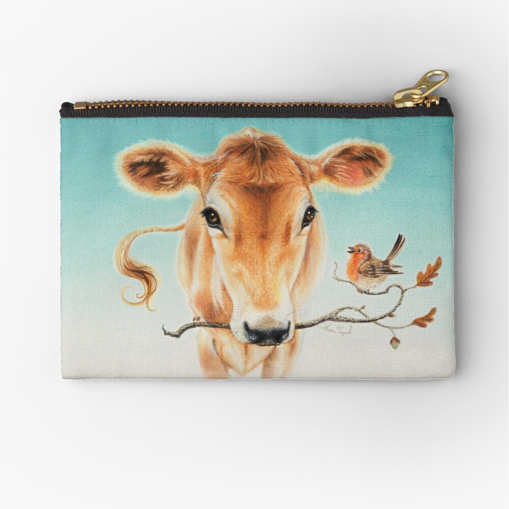 Calf and bird by Maria Tiqwah Zipper Pouch