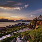 Sunset on Loch Long including the Old Boathouse at Cove by DerickGray