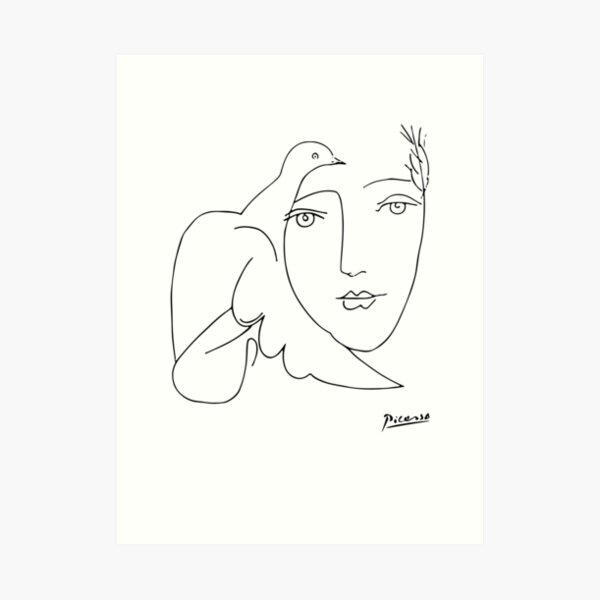 Camiseta de Pablo Picasso Peace (Dove and Face), Sketch Artwork Lámina artística