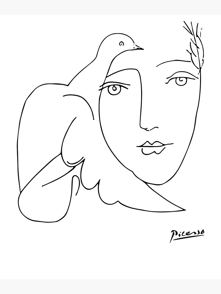 Pablo Picasso Peace (Dove and Face) T Shirt, Sketch Artwork by clothorama