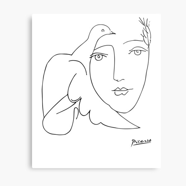 Pablo Picasso Peace (Dove and Face) T Shirt, Sketch Artwork Metal Print