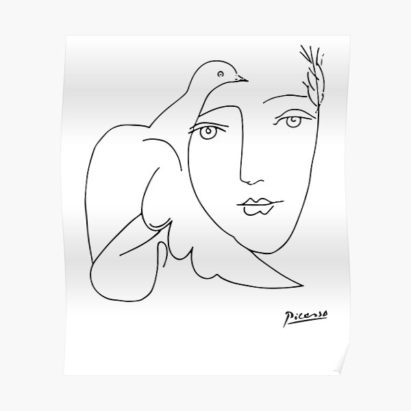 Pablo Picasso Peace (Dove and Face) T Shirt, Sketch Artwork Poster