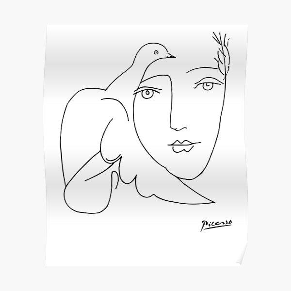Pablo Picasso paix (colombe et visage) T-shirt, oeuvre de croquis Poster