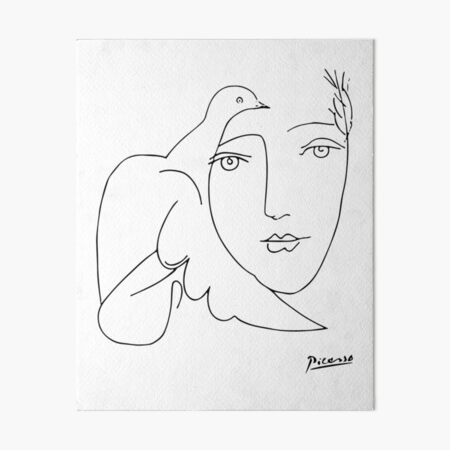Pablo Picasso Peace (Dove and Face) T Shirt, Sketch Artwork Art Board Print