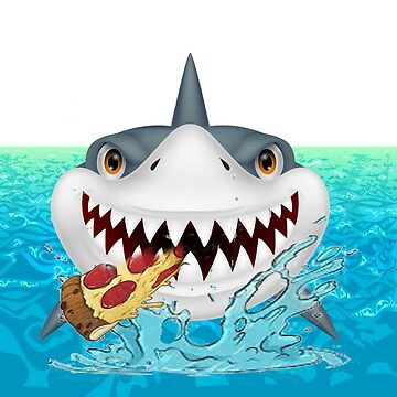 shark out of water eating pizza shirt by drawartist
