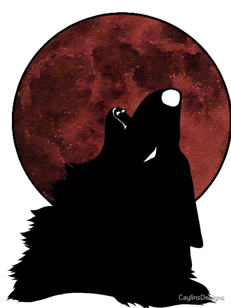Dark wolf howlin at the moon by CaylinsDesigns