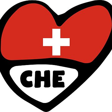 Switzerland Country Code Flag Heart, Suisse, CHE by Celticana