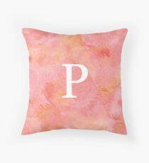 Peach Watercolor Ρ Throw Pillow