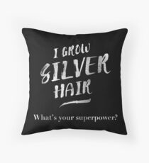 Silver Hair Superpower Throw Pillow
