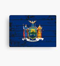 FLAG OF NEW YORK - POPULAR WOOD OVERLAY DISTRESS FLAG DESIGN Canvas Print