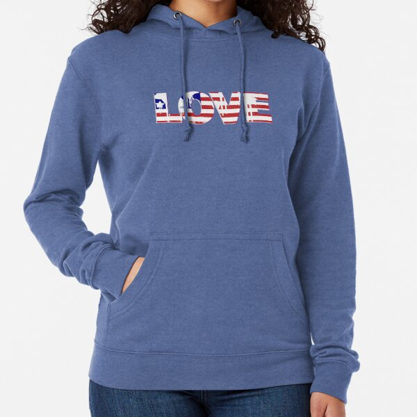 Lifestyle Graphix White and Blue American Flag USA Merica Freedom Country Hoodies for Men