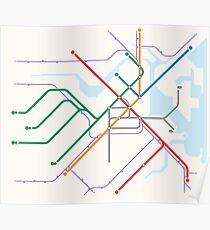 Simple Boston T MBTA transit map Poster