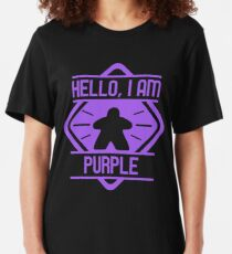 Hello I am Purple Meeple Board Games Addict Slim Fit T-Shirt
