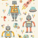 Vintage Inspired  Robots in Space by latheandquill