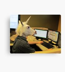 Unicorn in a cubicle #2 - the crushing of the soul Canvas Print