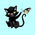 Black kitten with a butterfly by jasmineberry