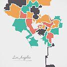 Los Angeles Map mit Bezirken und modernen runden Formen von Ingo Menhard